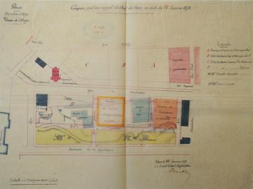 Plan d'implantation de la caserne des ouvriers d'administration