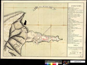 Place forte de Mazalquivir, Manuel Sánchez. Ce plan accompagnait une lettre de Pedro Martín Cermeño au comte de Ricla faisant état de l'avancement des travaux pendant l'année 1775.Oran, 5 mars 1776. 2 folios.