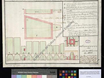 Plans et profils des citernes et du bassin de la place forte de Mazalquivir