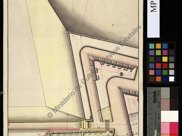 Plan et profil de la contre-garde et de la nouvelle batterie du château fort de San Andrés d'Oran et projet d'achèvement