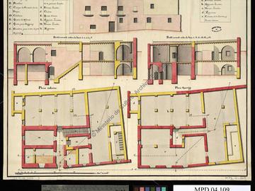 Plans, profils et élévation de la maison de don Joaquín Antonio Nario pour sa transformation en caserne