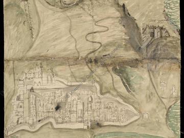 Dessin de la ville d'Oran et de ses châteaux