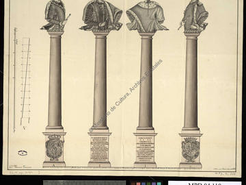 Dessin d'une colonne commémorative surmontée du buste de Charles III