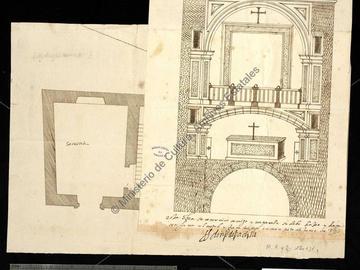 Plan de la grande chapelle et de la sacristie de l'abbaye de S. Domingo el Real d'Oran