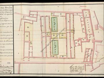 Plan partiel de la citadelle d'Oran avec l'indication des édifices utilisés pour la construction de l'hôpital