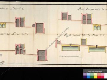 Profils de la citadelle d'Oran avec le projet de l'hôpital