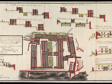 Plan d'une partie de la forteresse d'Oran où les habitations sont disposées pour servir d'hôpital à la garnison
