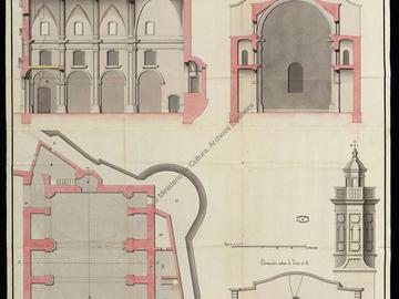 Plan, coupe et élévation de la nouvelle église conventuelle de Santo Domingo d'Oran