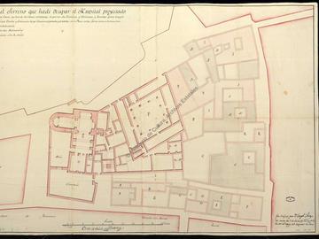 Plan de situation du projet d'hôpital d'Oran avec l'indication des maisons à détruire