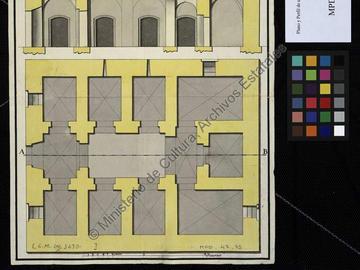 Plan et coupe du projet de prison d'Oran