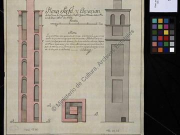 Plan, coupe et élévation de la tour ou clocher de l'église majeure d'Oran