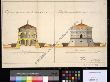 Coupe et élévation des tours projetées
