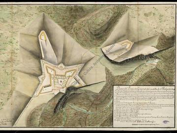 Plan du projet général du château de San Felipe d'Oran, Antonio de Montaigu. Dossier du projet de Juan Ballester et de « Monteaigu » pour le fort de San Felipe. 11 folios.