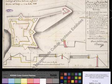Plan et profils du château fort de San Felipe et du fort de San Carlos à Oran