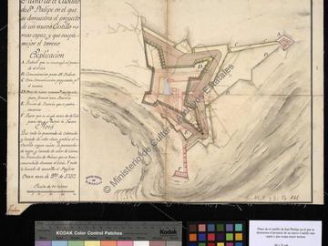 Plan du château fort de San Felipe d'Oran avec l'indication du projet de remaniement