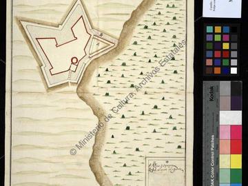 Plan du château fort de San Felipe d'Oran avec l'indication du nouveau ravelin