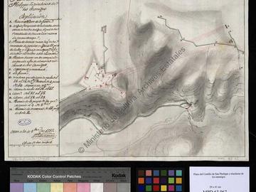 Plan du château fort de San Felipe d'Oran avec le dessin des tranchées de l'ennemi