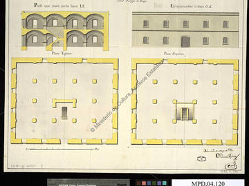 Plan, coupe et élévation d'un entrepôt projeté sur le port d'Oran