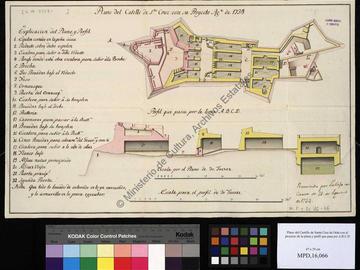 Plan et coupe du château fort de Santa Cruz à Oran