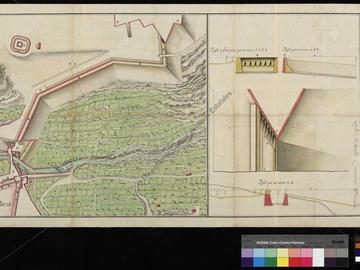 Plan et coupe du chemin de communication en cours de construction entre le pont de Tlemcen et le château de San José