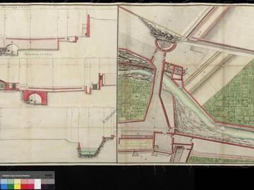 Plan, coupe et élevation des travaux réalisés dans les abords immédiats du pont de Tlemcen à Oran