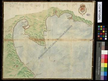 Carte de la côte entre Mazalquivir y Arzew, avec la situation de la forteresse d'Arzew
