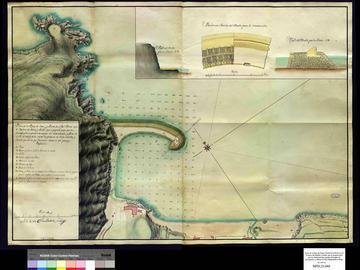 plan de la plage d'Oran et de la pointe de la Mona, avec l'indication de la jetée projetée
