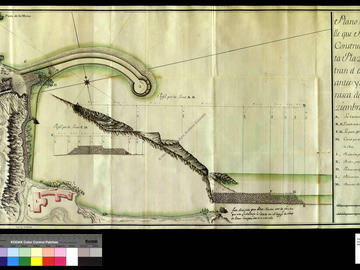 Plan et coupe de la digue du port d'Oran, avec l'indication de l'état avant et après l'ouragan du 25 décembre 1738