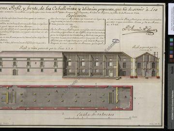 Plan, coupe et élévation de la caserne de cavalerie d'Oran
