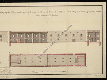 Plan, coupe et élévation d'une caserne située dans le port de la Marine à Oran