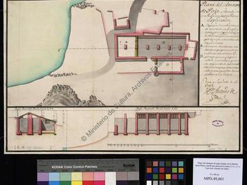 Plan et coupe de l'entrepôt de paille du port d'Oran