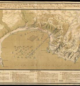 La baie d'Alger avec l'emplacement des châteaux, batteries et campements
