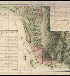Plan de la ville et environs d'Alger où sont compris les châteaux, forts, et batteries qui defendent les approches de cette place