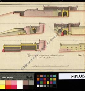 Profils de la contre-garde et de la nouvelle batterie du château fort de San Andrés d'Oran