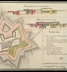 Plan et profils du château fort de San Andrés d'Oran