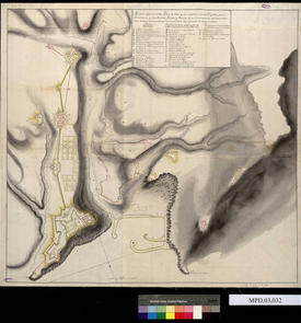 Carte générale de la place forte d'Oran et de ses châteaux, avec les projets d'interventions à Rosalcazar et à San Andrés