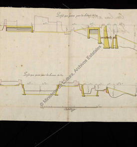 Profils en long du château de San Felipe, forts de San Fernando et de San Carlos