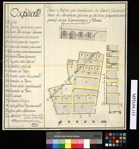 Plan et coupe de l'édifice de la prison, donjon, salle d'audience, bureaux et archives
