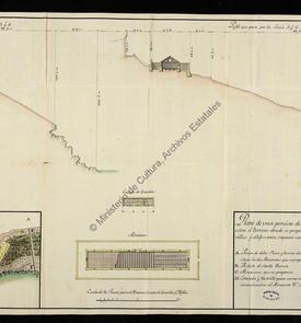 Plan d'une partie du château fort de Rosalcazar avec l'indication des  emplacements pour la contruction des dépôts de poudre
