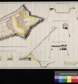 Plan et coupe du château fort de Santa Cruz d'Oran