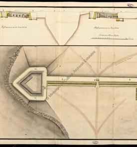 Plan et coupe de la redoute de Santiago à Oran