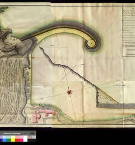Plan et coupe de la jetée du port d'Oran