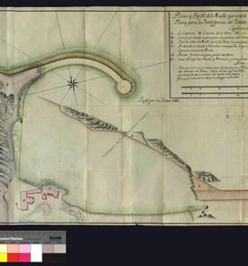 1739. Plan et profil du môle en construction dans le port de cette place forte, Juan Bautista Mac Evan.