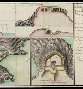 Plan et coupe de la batterie en construction sur l'îlot de la Punta de la Mona